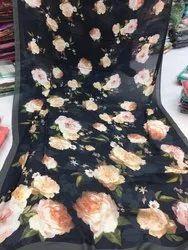 digital floral satin sarees