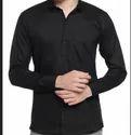 Oshano Black Cotton Blend Casual Shirt