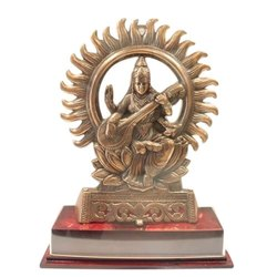 Brass And Wooden Brass Saraswati Statue