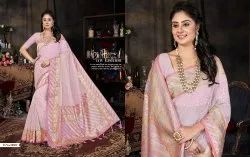 Silk Baby Pink Heavy Embroidered Designer Saree, With Blouse Piece, Machine Made