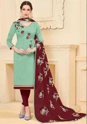 Mint Green Banglori Slub Suit With Embroidered Dupatta