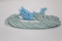 Natural Blue Aquamarine Faceted Rondelle Beads