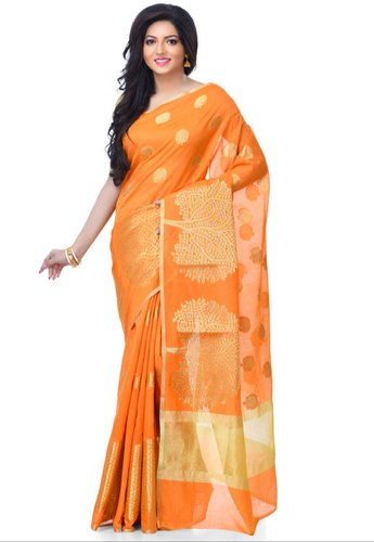 aa2ddae388 Festive Wear Orange Cotton Blend Zari Work Banarasi Saree With Stitched  Blouse