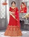 Fancy Fabric Heavy Embroidery & Diamond Work 3 PCS  Lehenga with Blouse & Dupatta - Jagnoori