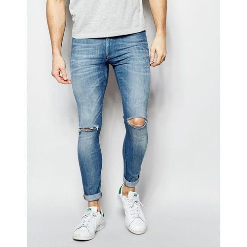Mens Knee Ripped Jeans Rugged