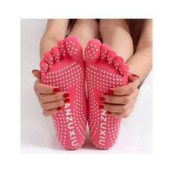 Pink Printed Yoga Gym Non Slip Full Grip Sock, Size: Free Size
