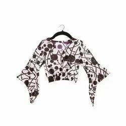 Cotton Blend Casual Wear Kids Girls Bell Sleeves Shimmer Polka Dot Top