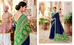 Fancy Vichitra Silk Saree With Embroidery
