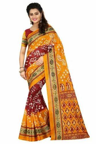 Bandhani Printed Art Silk Saree