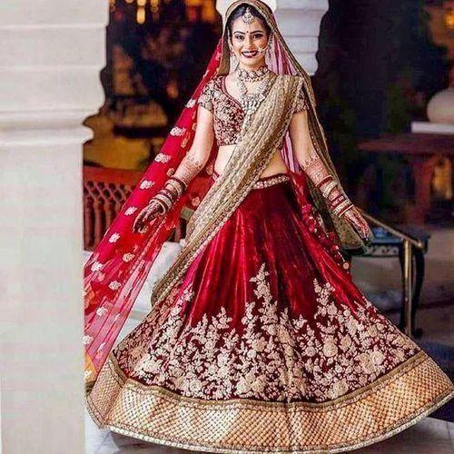 de28d4d3e3 Semi-Stitched Red, Golden Bridal Velvet Designer Lehenga, Rs 10000 ...