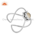 Crystal Quartz Gemstone Oxidized Plated Sterling Silver Ring Jewelry