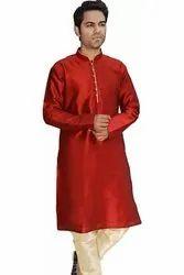 Assorted Silk Designer Wedding Red Kurta For Groom