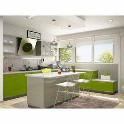 Green And White Island Modular Kitchen