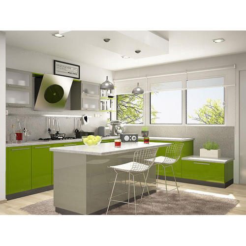 Green And White Island Modular Kitchen, Rs 600 /square