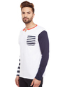 Men Full Sleeve Multicolour V-Neck T-Shirt
