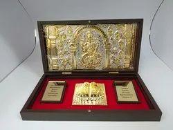 Laxmi Charan Paduka Gold Plated Photo Frame Box