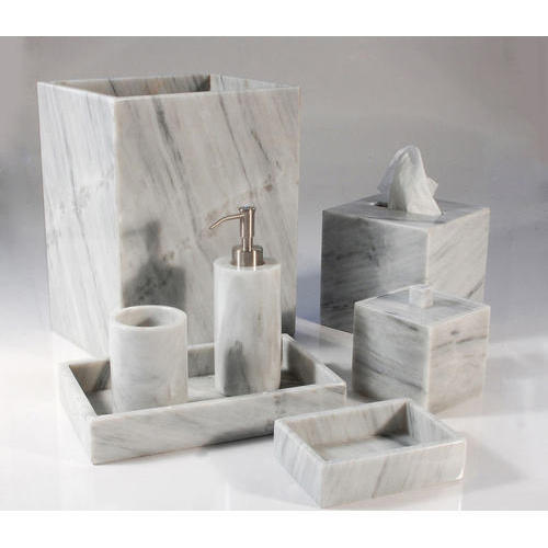 Beau ... Light Gray Marble Bathroom Accessories ...