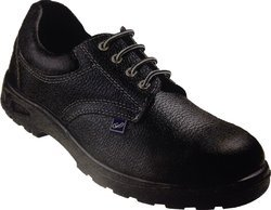 Leather Black Safety Shoes with Dual Density, Antistatic, Non-Metal Composite Midsole