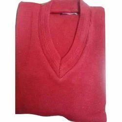 Red Male,Female School Plain Sweaters, S-XXL