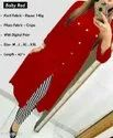 Baby Red Rayon Kurti And Palazzo Set