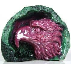 Ruby Gemstone Eagle Statue