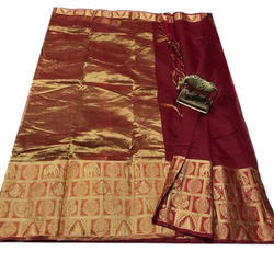 Border Silk Brown Kota Saree, 6 m (with blouse piece)
