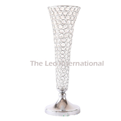 Clear crystal bead long flower vase for wedding decoration