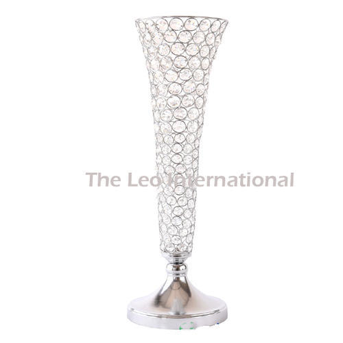 225 & Clear crystal bead long flower vase for wedding decoration ...