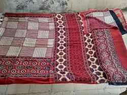 Hand Block Printed Ajrakh Modal Saree, 6.3 m (with blouse piece)