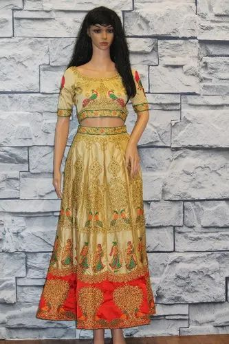 Yellow and red Hand Work Lehenga With Peacock Embroidery