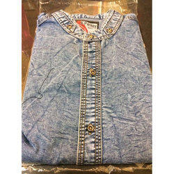 Mens Denim Blue Casual Shirt, Size: M, L and XL
