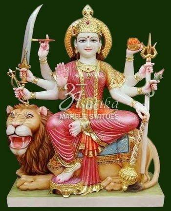 Ashtika Marble Statue Multicolor Goddess Durga Statue