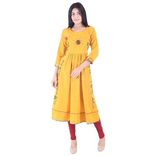 Yellow Formal wear Office Wear Kurtis