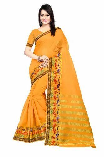 efb9530110333 Jacquard Block Printed Designer Pallu Cotton Silk Saree With Blouse ...