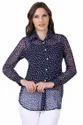 Navy Blue Chiffon Printed Full Sleeve Shirt