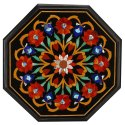Black Marble Corner Table Top Multi Stone Mosaic Art Home