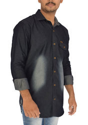 Denim Shaded Men's Denim Shirt - Blue Color
