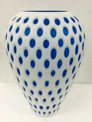White Glass Vase, Shape: Oval