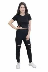 CrazeVilla Polyester Black Leggings with Cut Outs