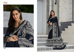 Black Cotton Linen Sarees