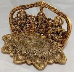 Gold Antique Golden Metal Laxmi Ganesh Saraswati Pooja Thali