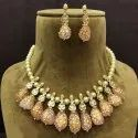 Beaded Necklace Golden Ladies Party Wear Pearl Neck Set