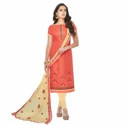 Orange Colored Brasso Cotton Embroidery Unstitched Casual Wear Salwar Suit