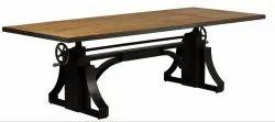 Black Metal Industrial Adjustable Height Dining Table