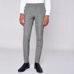 Mens Cotton Casual Wear Check Trouser