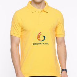 Cotton Yellow Mens Custom Printed Collar Neck T Shirt, Size: S-XL