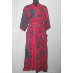 Women's Silk Sari Long Kimono Jacket Dress