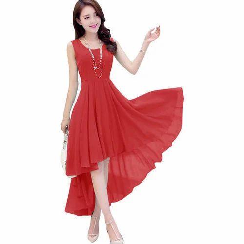 2e9c99294a Georgette Dresses Designer Western Red Dress