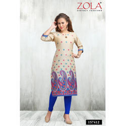 3/4 Sleeves Cream Kurti