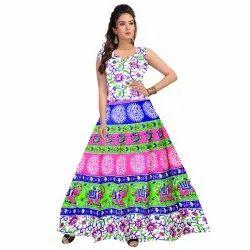 Printed Cotton Ladies Western Dress, Model Name/Number: FR546